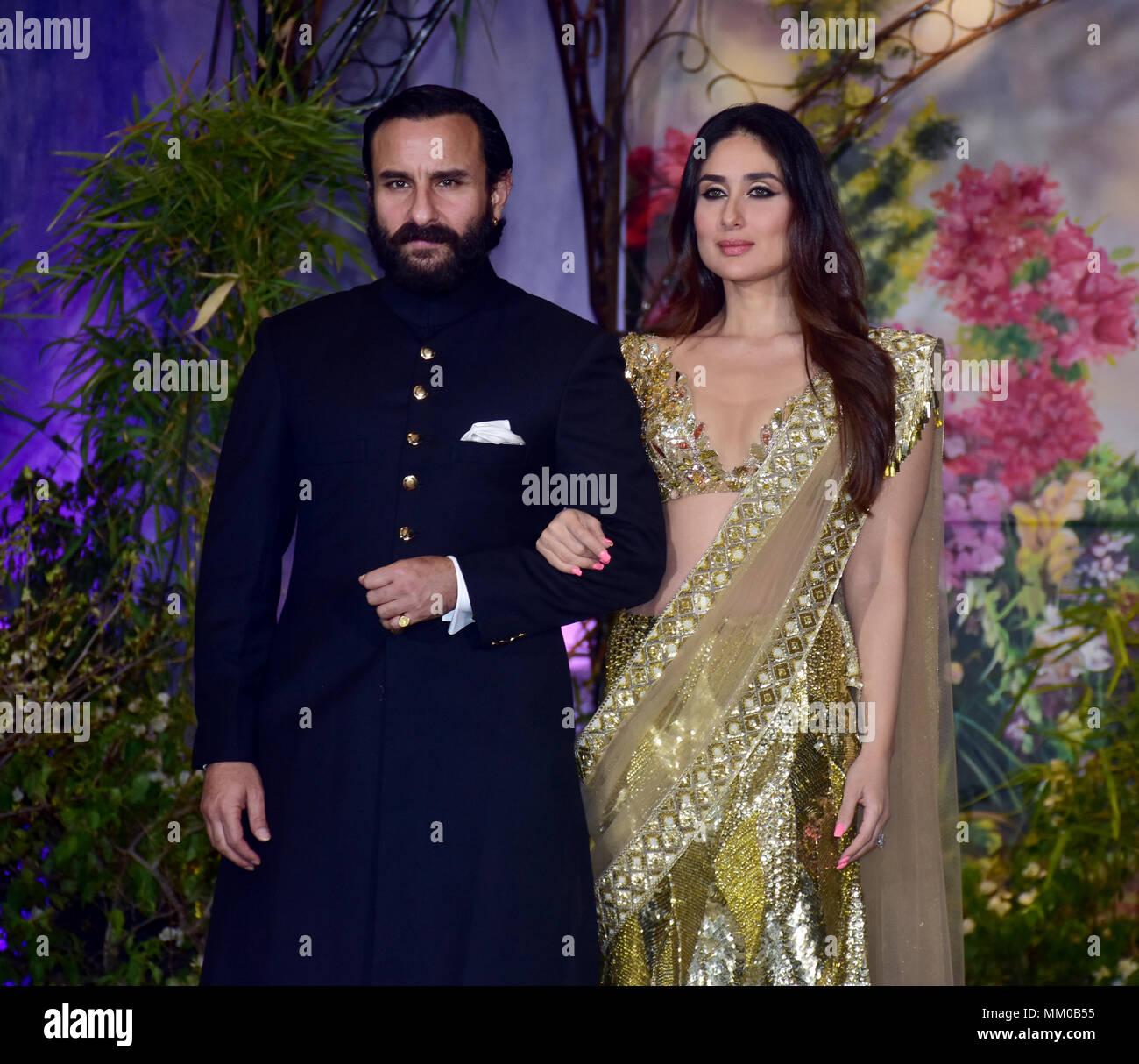 Indian Film Actress Kareena Kapoor Khan With Husband Saif Ali Khan