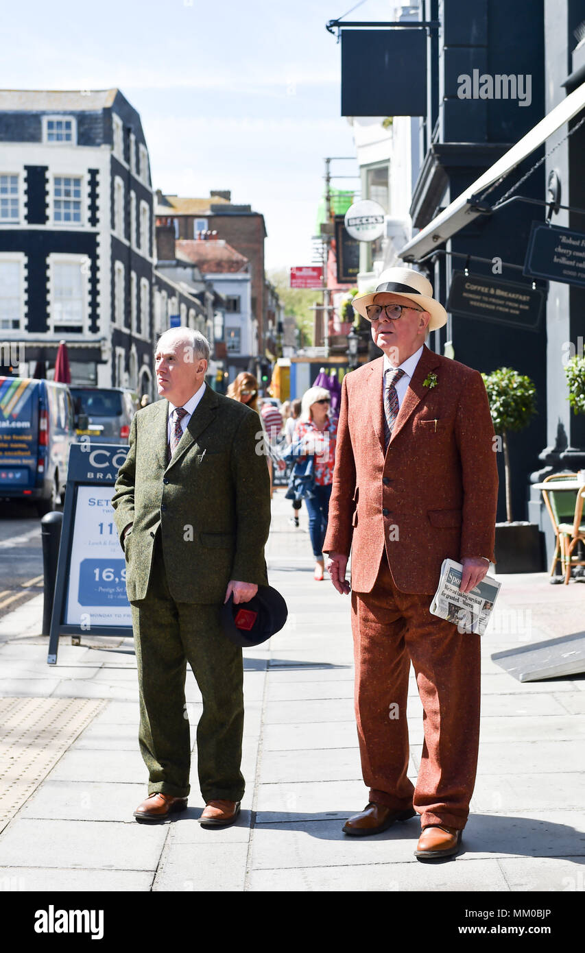 Brighton UK 9th May 2018 - Renowned artists Gilbert and George visiting their own exhibition at Brighton Museum and Art Gallery which is showing until September until September .  Photograph taken by Simon Dack Stock Photo