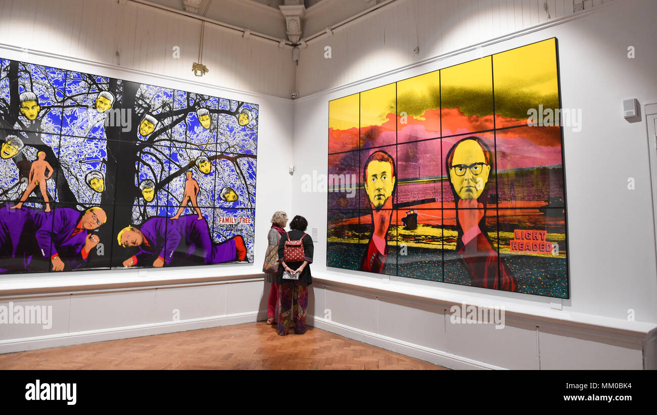 Brighton UK 9th May 2018 - Visitors enjoy the Gilbert & George exhibition at Brighton Museum and Art Gallery which is showing until September  . Stock Photo
