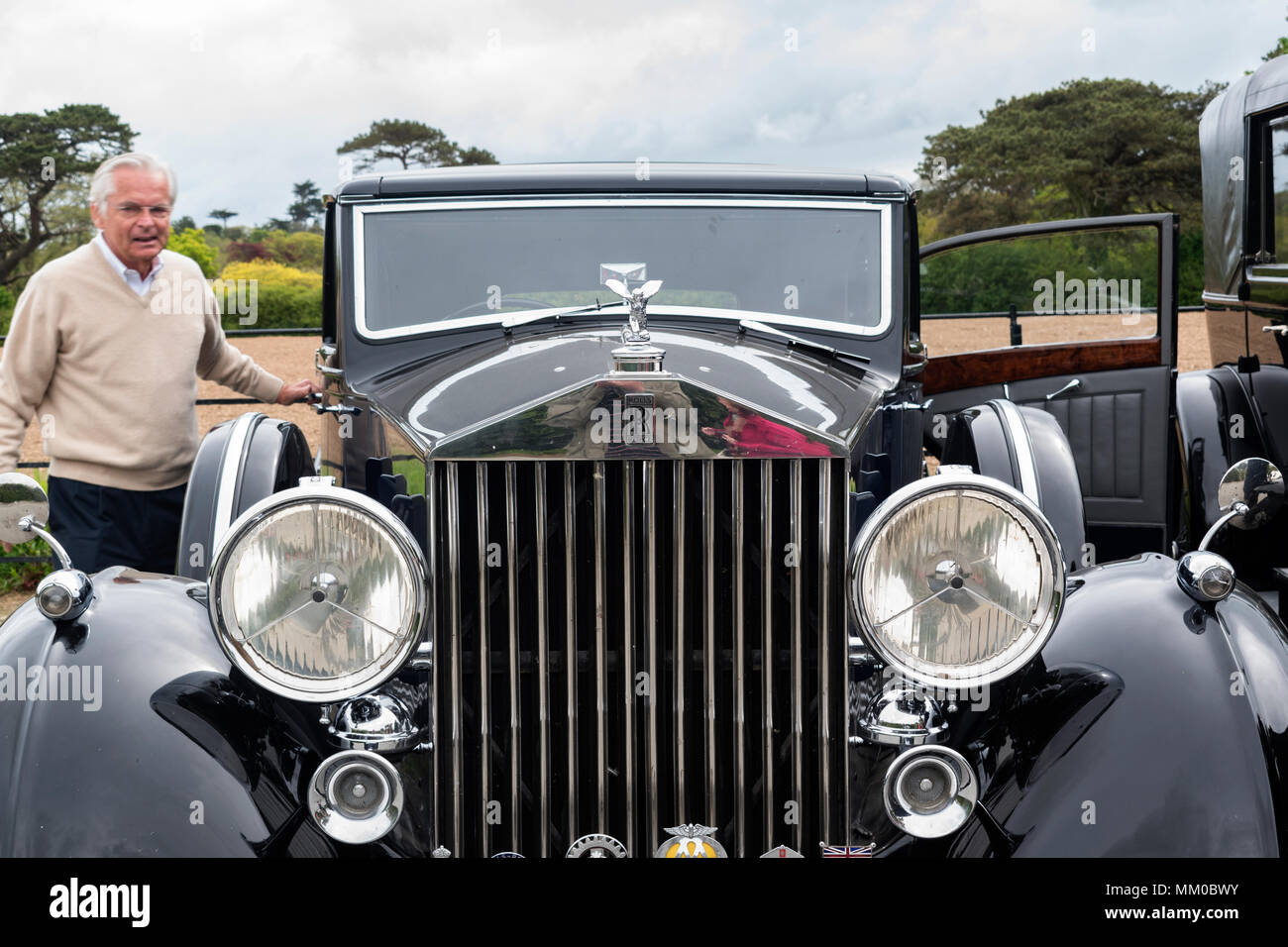 Trebah, Cornwall, England, UK. 9th May 2108. The 20-Ghost Club, the oldest Rolls-Royce car club in the world gathered at Trebah in Cornwall today as they toured the county, the club is dedicated to the preservation of pre 1940 Rolls Royce  motor cars. Credit: Kevin Britland/Alamy Live News. - Stock Image