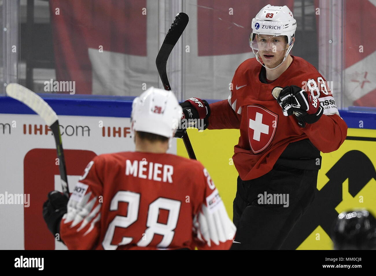 promo code 02aae 5bd13 L-R Timo Meier and Joel Vermin (both SUI) celebrate the goal ...