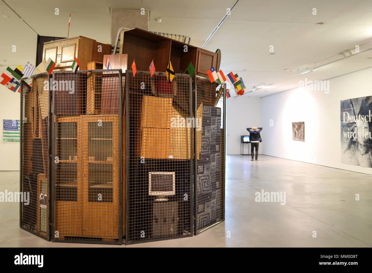 Cracow, Poland - May 8, 2018: Exibition Motherland in Art at Mocak in Krakow. Art installation by Jaroslaw Kozlowski - A United World,  the Totalitarian Version Credit: Wieslaw Jarek/Alamy Live News Stock Photo