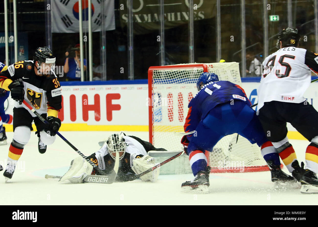 May 9, 2018 - Herning, Denmark - from left Yannic SEIDENBERG (GER), Niklas TREUTLE (GER), Kisung KIM (KOR), Frederik TRIFFELS (GER), .May 09, 2018, Ice Hockey World Championship 2018,Germany vs Korea, Jyske Bank Boxen, Herning/Denmark, (Credit Image: © Wolfgang Fehrmann via ZUMA Wire) Stock Photo