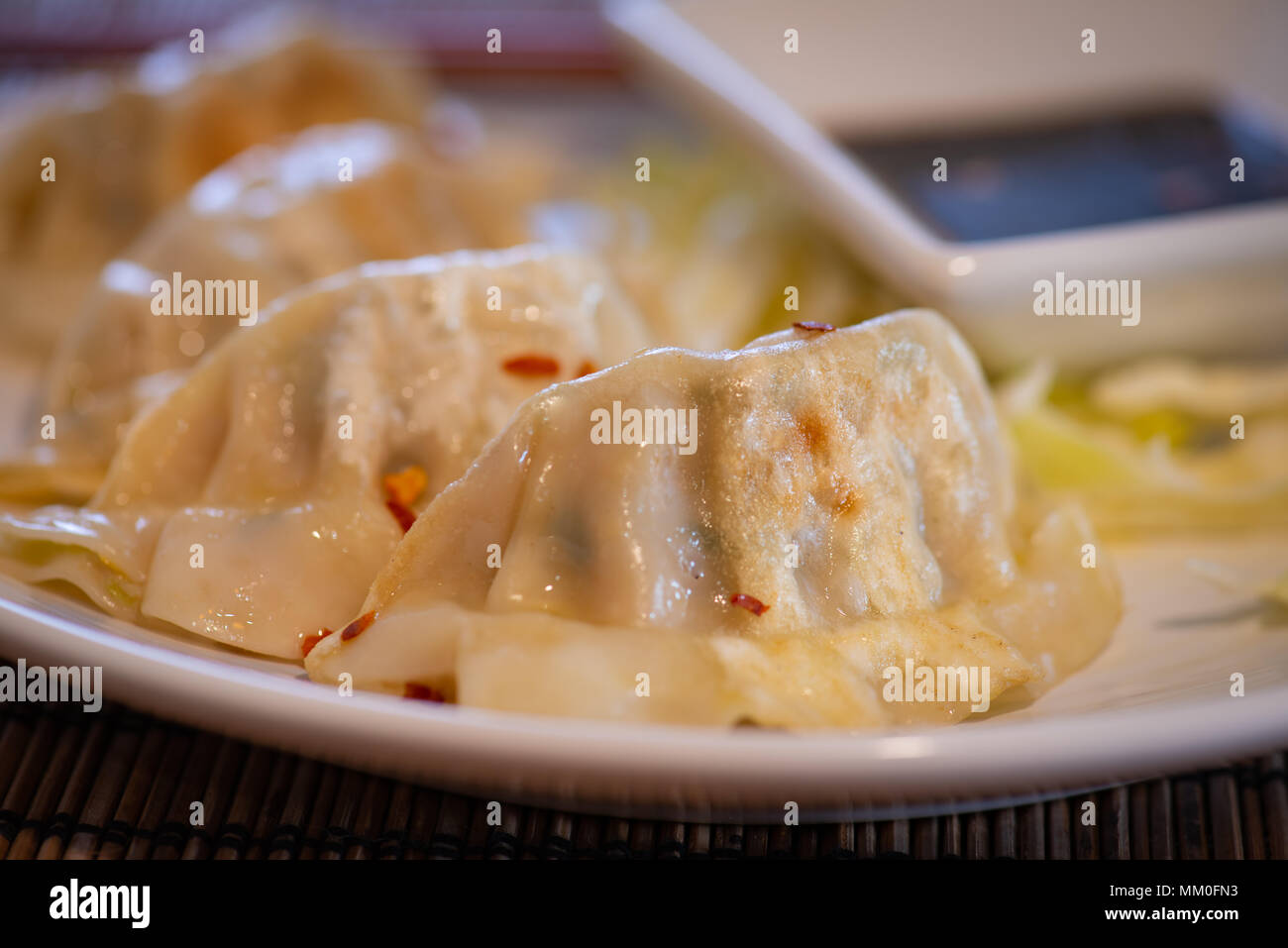 Plate Of Pork And Vegetable Chinese Potsticker Dumplings With