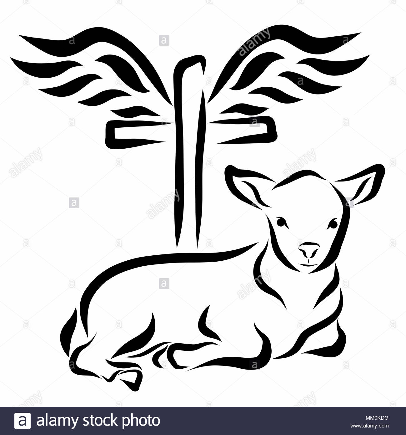 A Calm Lamb Lying In Front Of A Cross With Wings Stock Photo