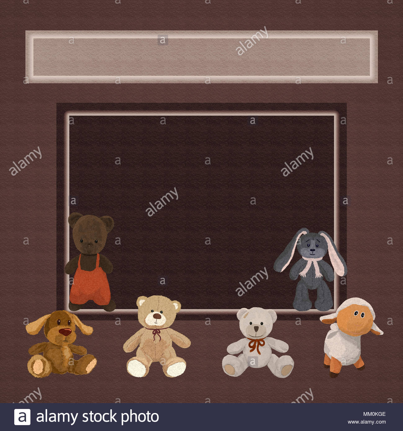 Brown Background With Six Cute Plush Toys And A Frame Stock Photo