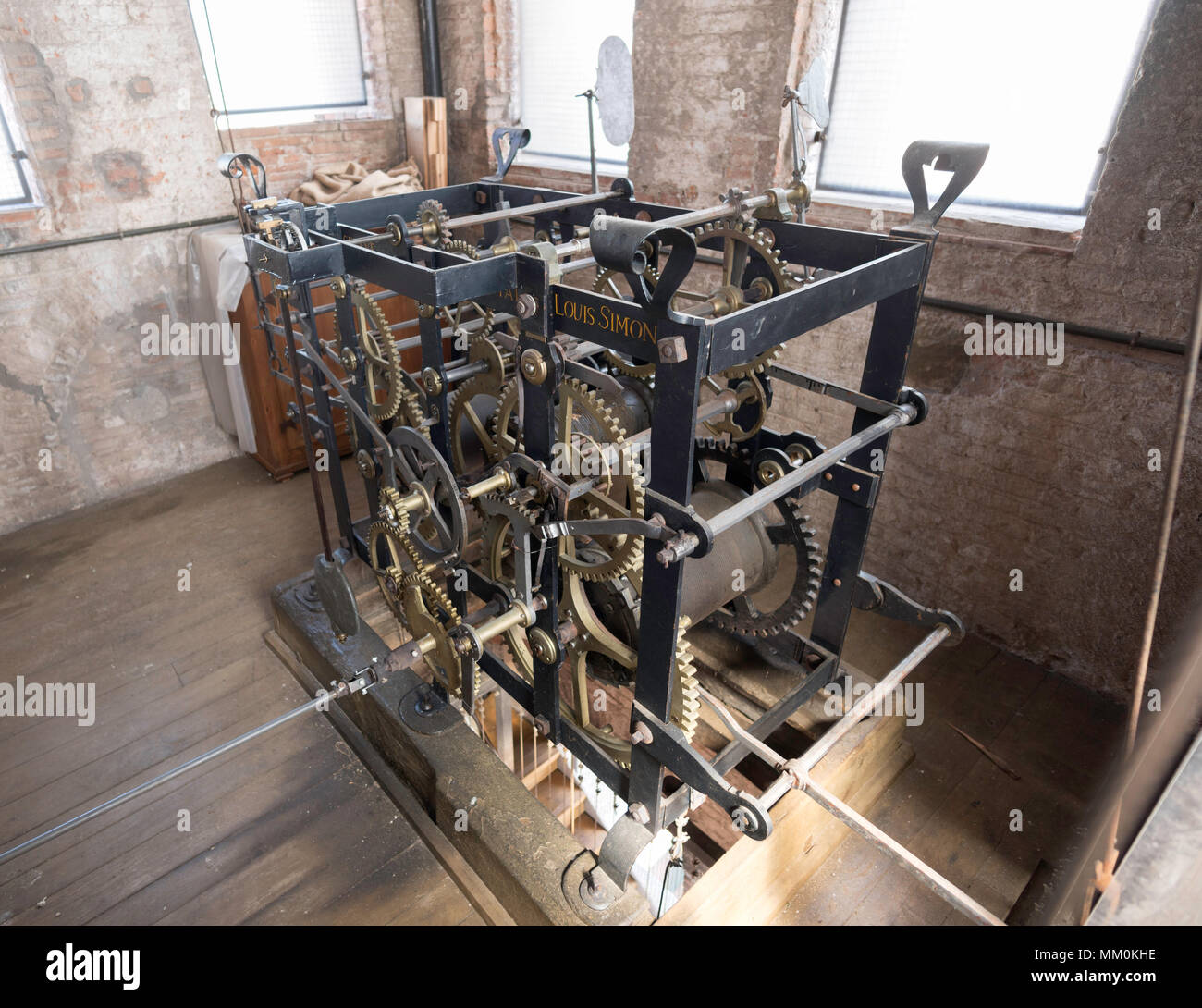 18th century clock mechanism by Swiss Louis Simon within the Torre Delle Ore, Lucca, Tuscany, Italy Stock Photo