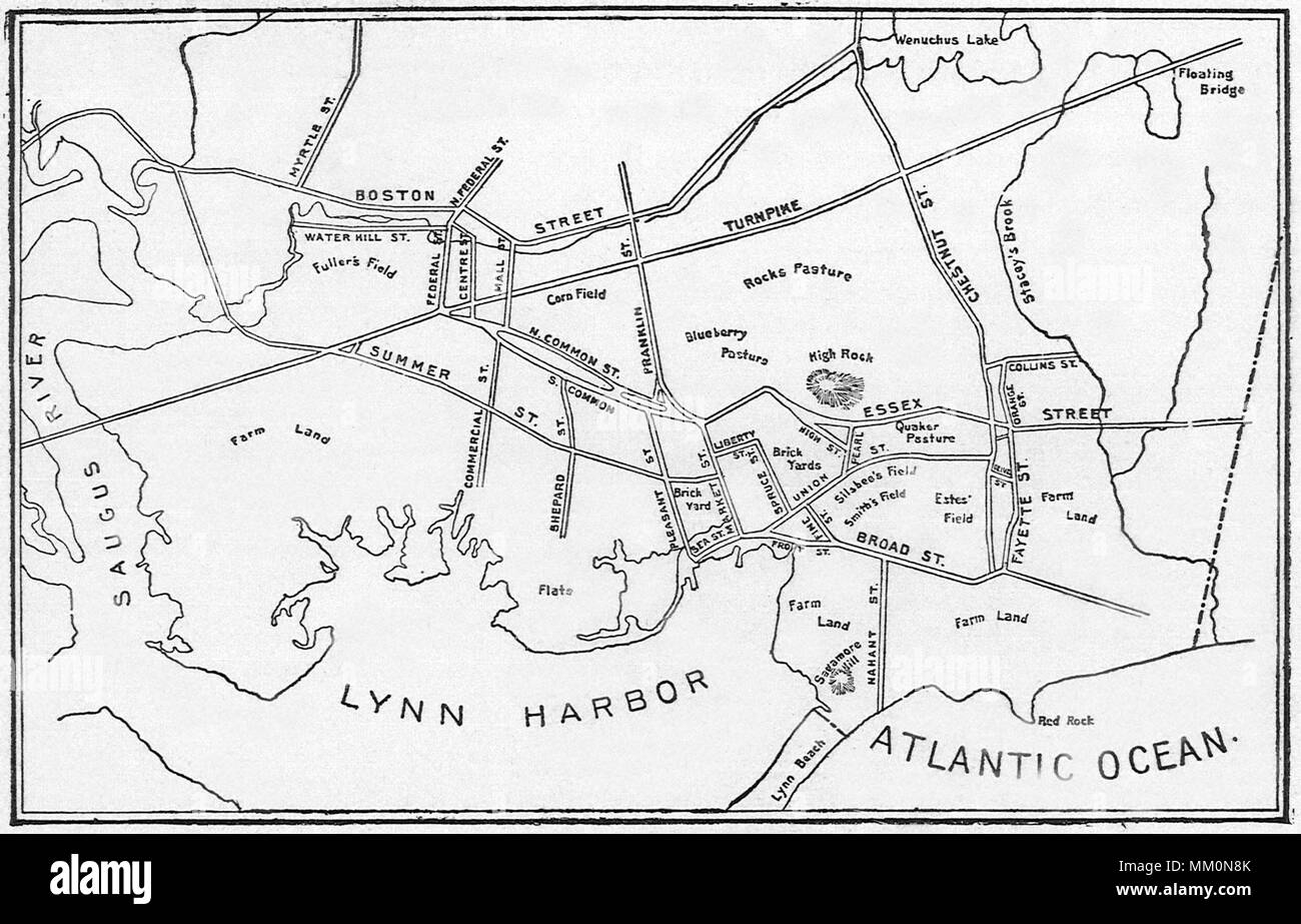 Map of Lynn. 1836 - Stock Image