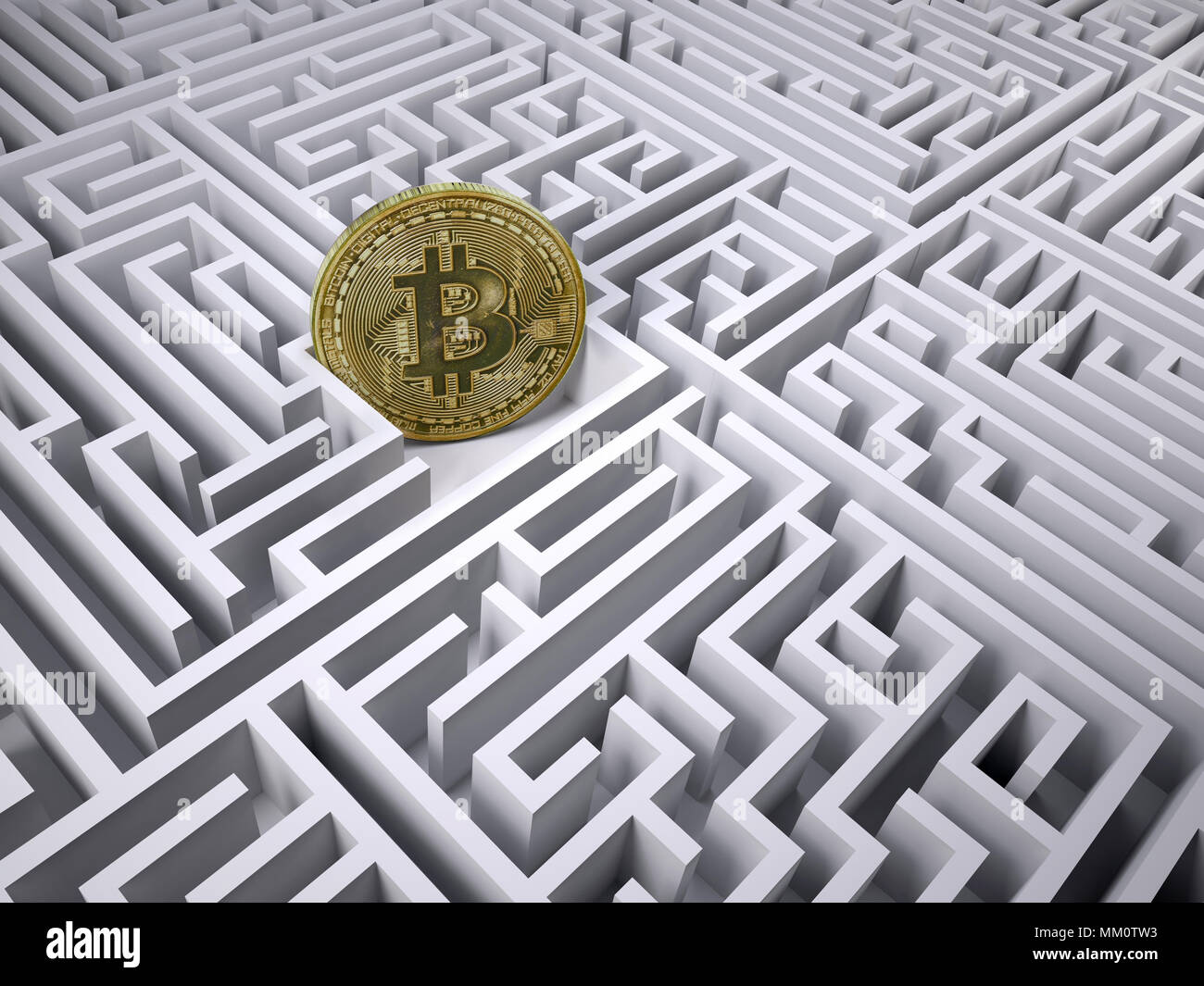 bitcoin in the labyrinth maze, 3d illustration - Stock Image