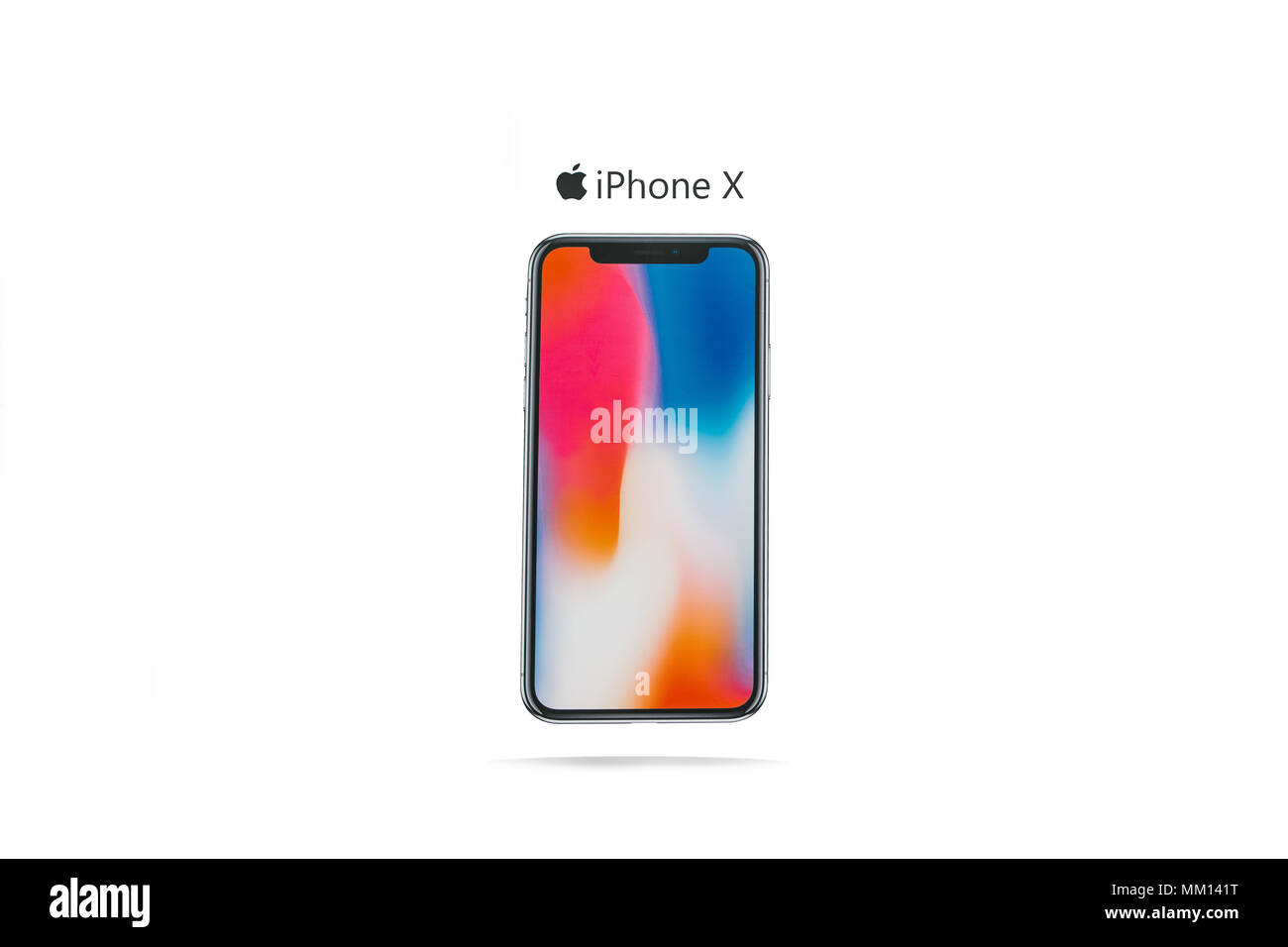 Australia, Christmas Island, May 9, 2018: The new frameless phone firm of Apple called the iPhone X editorial illustration on a white background with  - Stock Image