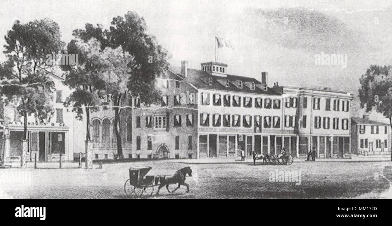 Mansion House. Greenfield. 1852 - Stock Image