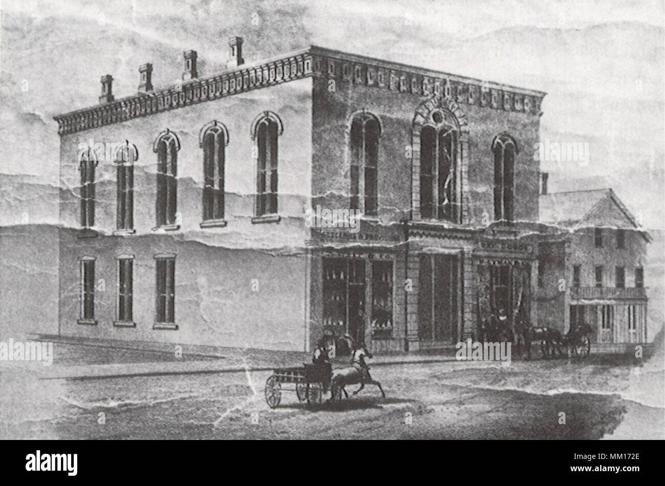 Town Hall. Greenfield.  1852 - Stock Image