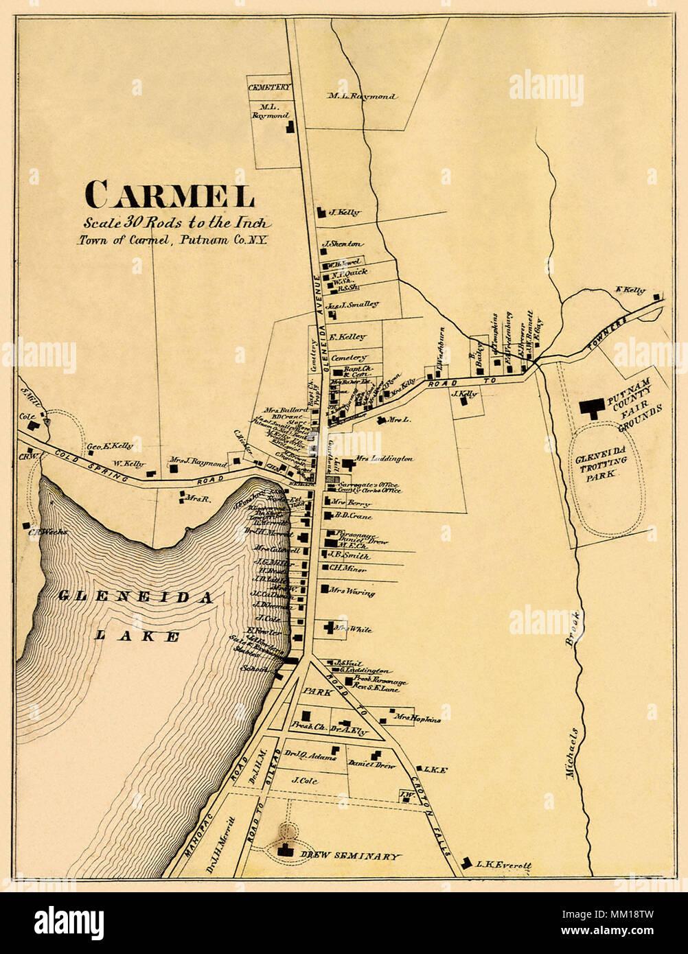 Map of Carmel. 1867 Stock Photo: 184425721 - Alamy Carmel Map on