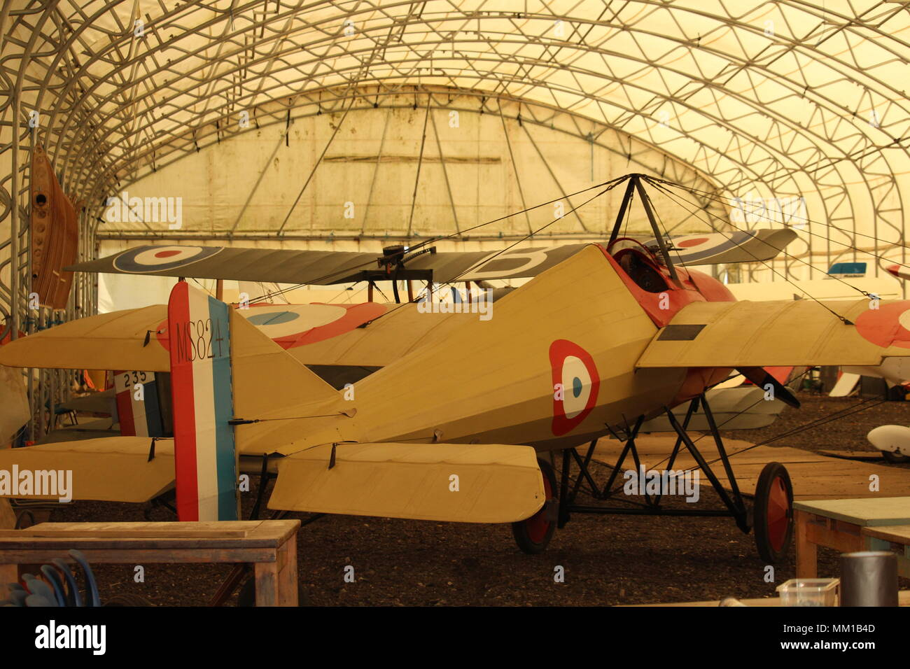 British Military Heritage - Interior of private aircraft hangar at the WW1 Great War Aerodrome, Stow Maries, Purleigh, Essex. - Stock Image