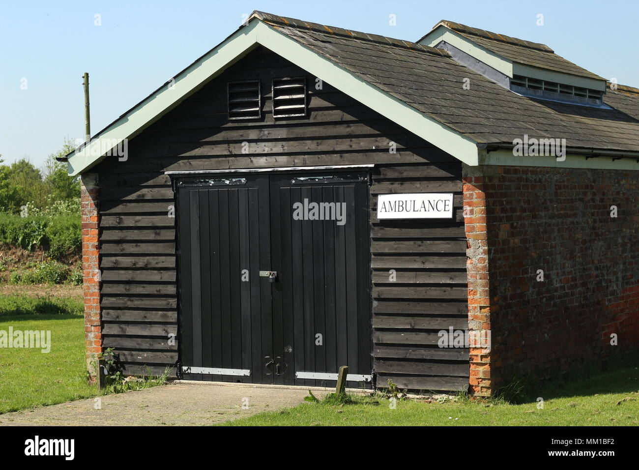 WW1 British Military Heritage site - Ambulance station and morgue building at Stow Maries Great War Aerodrome, Purleigh, Essex. - Stock Image