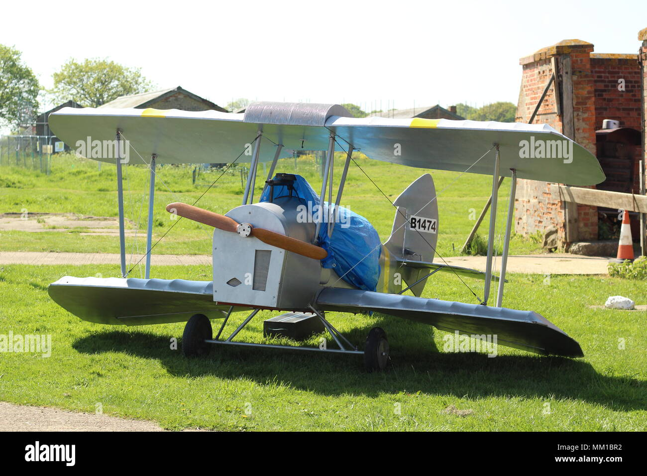 Model bi-plane at Stow Maries Great War Aerodrome, Purleigh, Essex, Britain. - Stock Image