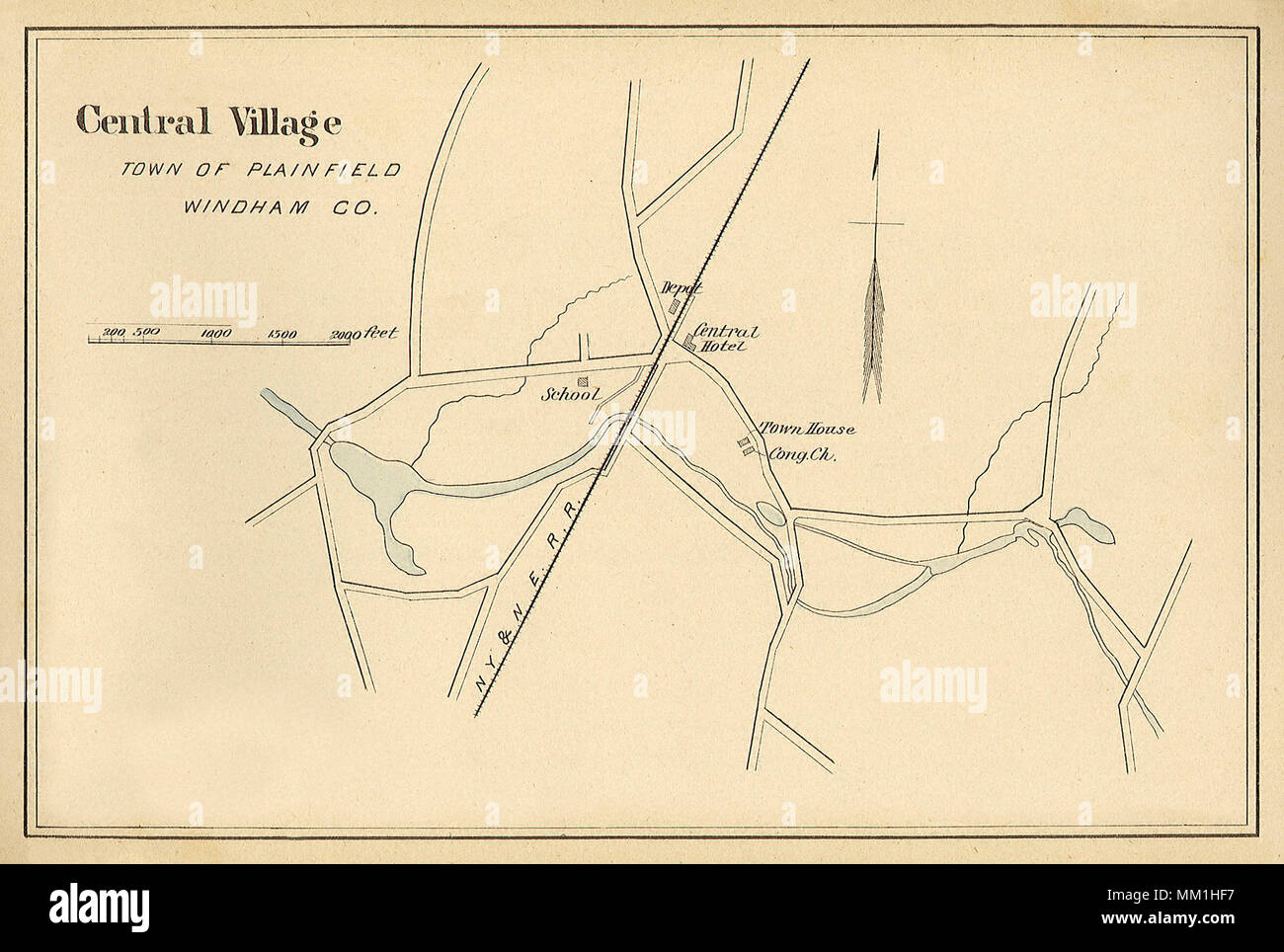 Connecticut State Of Stock Photos Diagram A House In With The Wiring Map Central Village Town Plainfield 1893 Image