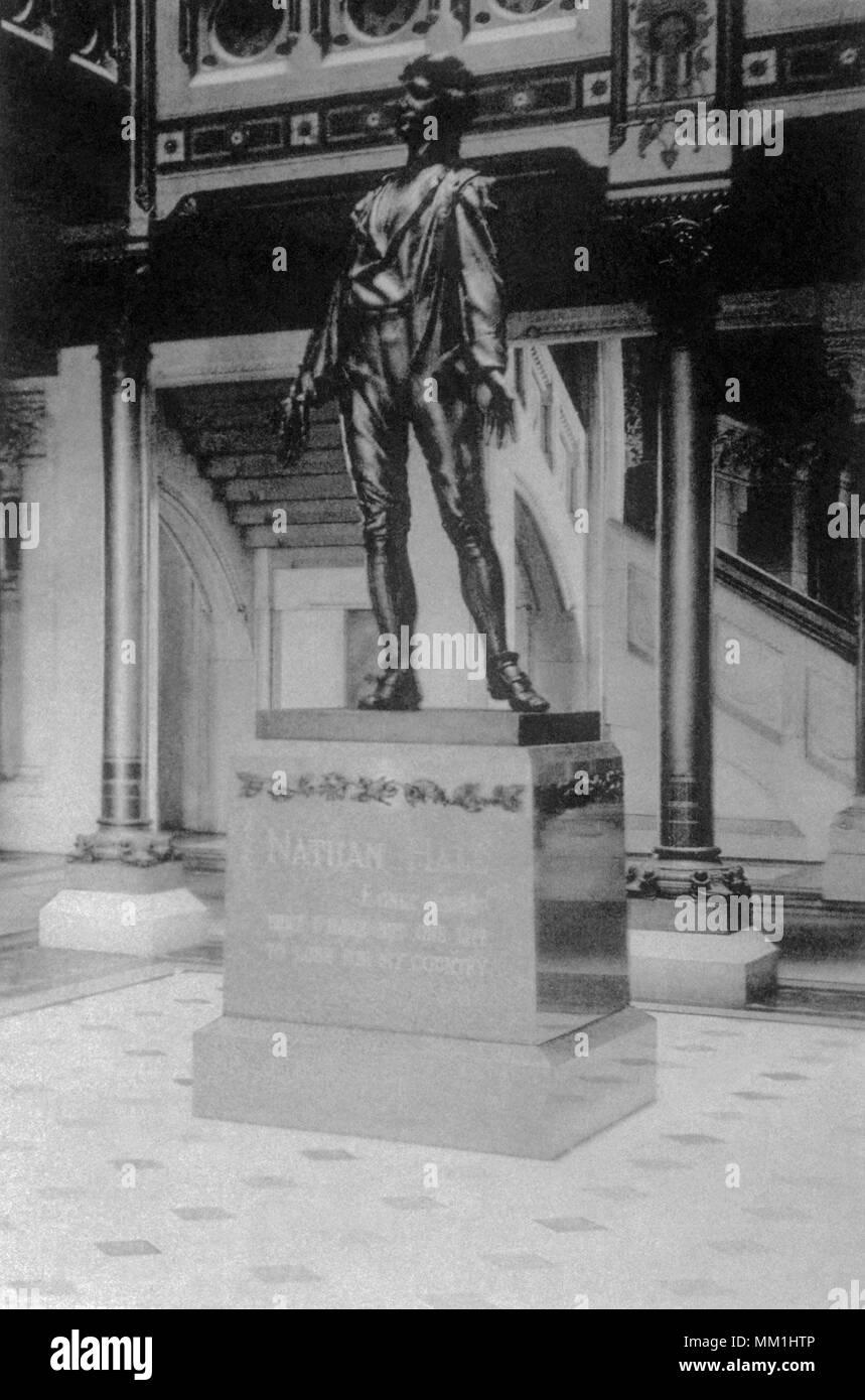 Statue of Nathan Hale. Hartford. 1852 - Stock Image