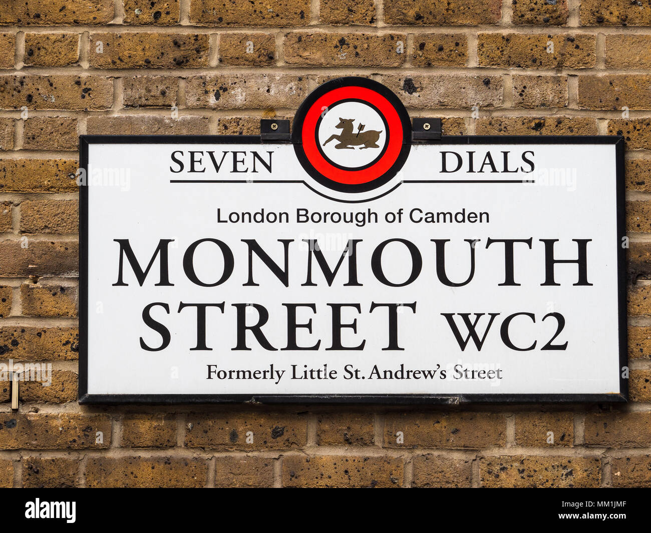 London Street Signs - Monmouth Street in London's Seven Dials district - Stock Image
