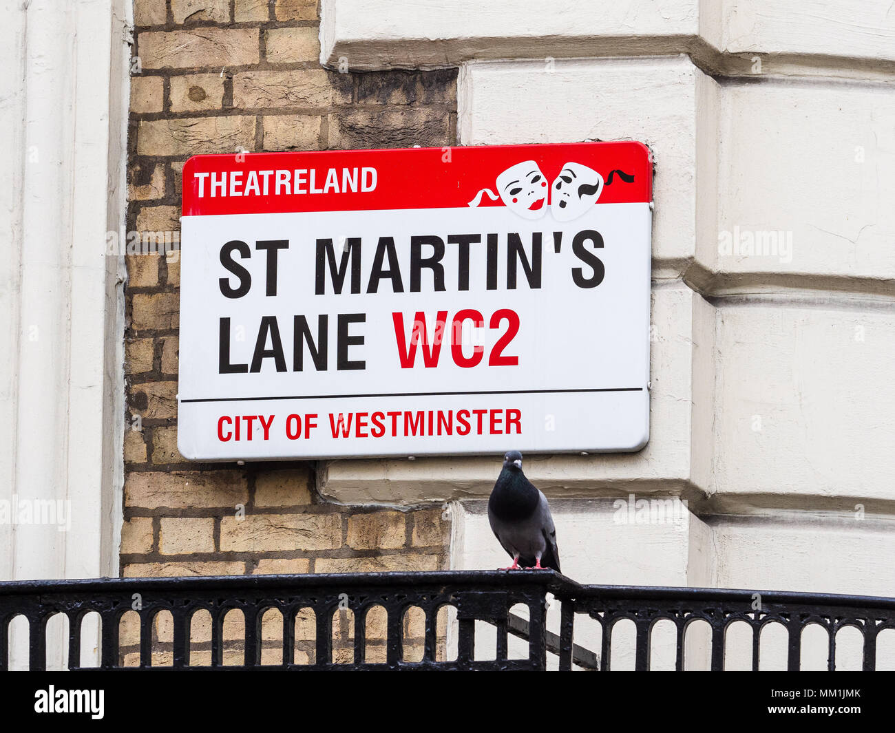 London Street Signs - St Martins Lane in London's Theatreland district - Stock Image