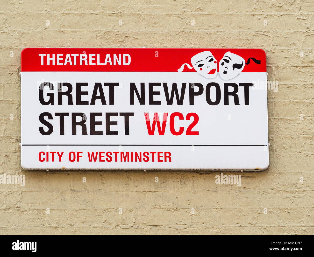 London Street Signs - Great Newport Street in London's Theatreland West End district - Stock Image