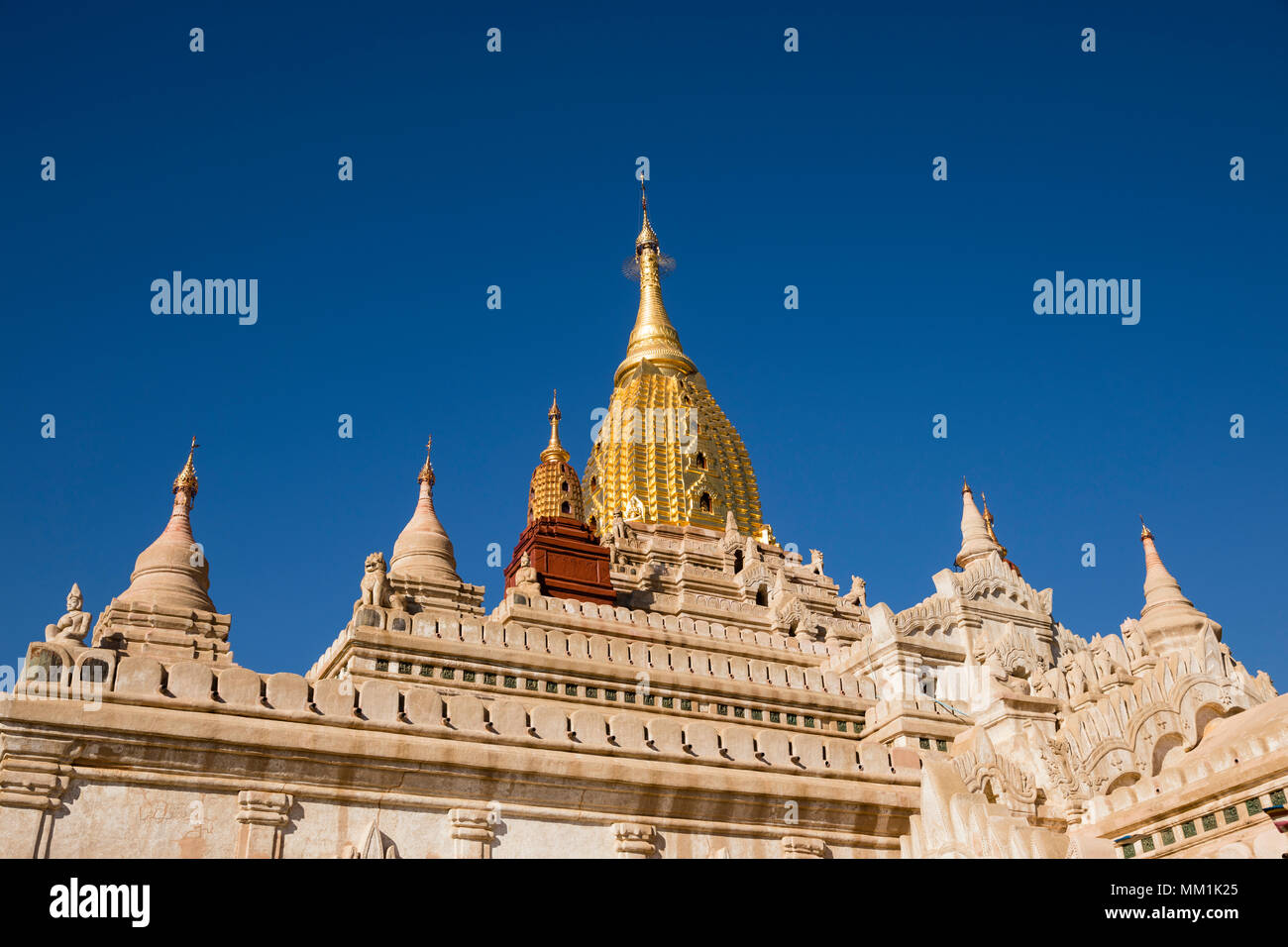 Newly renovated Ananda Temple in Old Bagan, Myanmar. The Buddhist temple houses four standing Buddhas - Stock Image