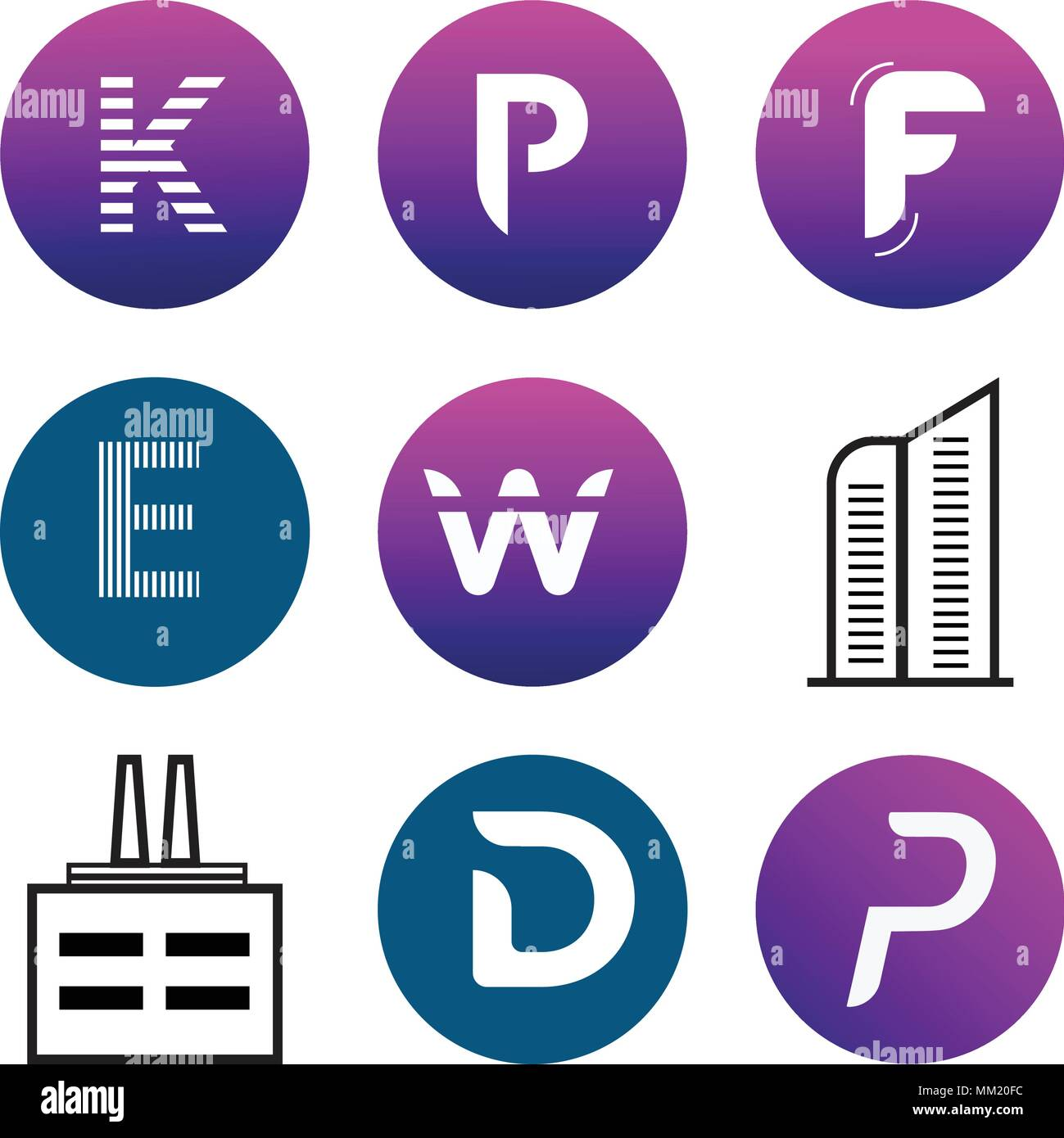 Set Of 9 simple editable icons such as P, D, Apartment, W, E, F, K, can be used for mobile, web Stock Vector
