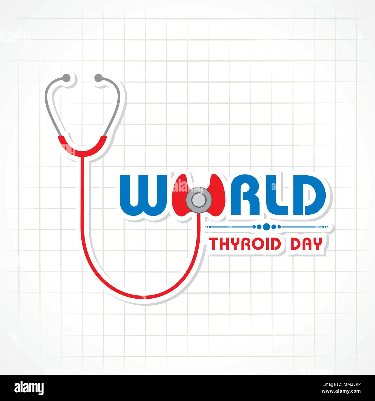 Vector illustration of World Thyroid Day poster with illustration of thyroid gland - Stock Image