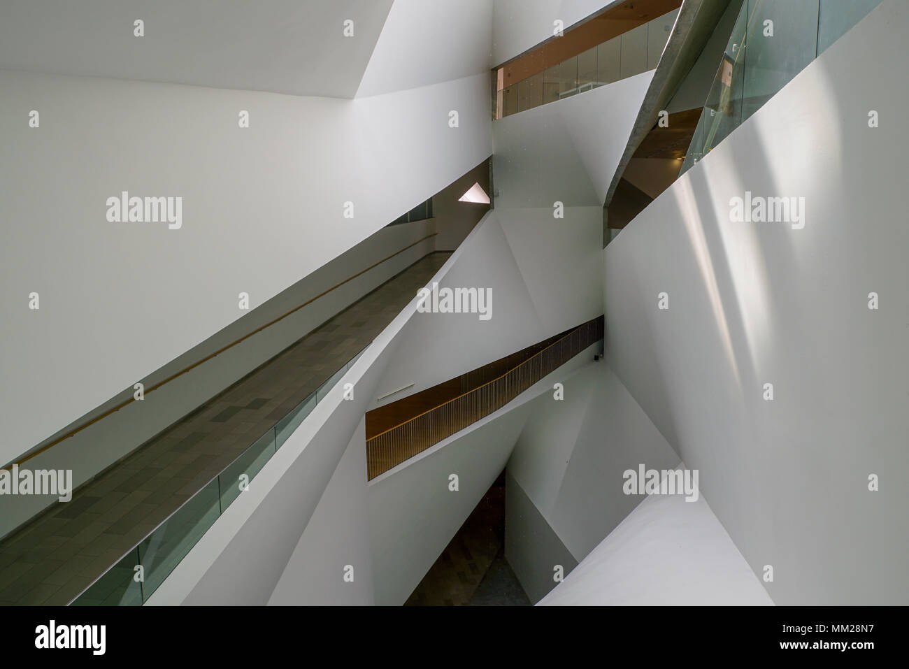 Interior of the Tel Aviv Museum of Art. Tel Aviv, Israel. Abstract Architecture - Stock Image
