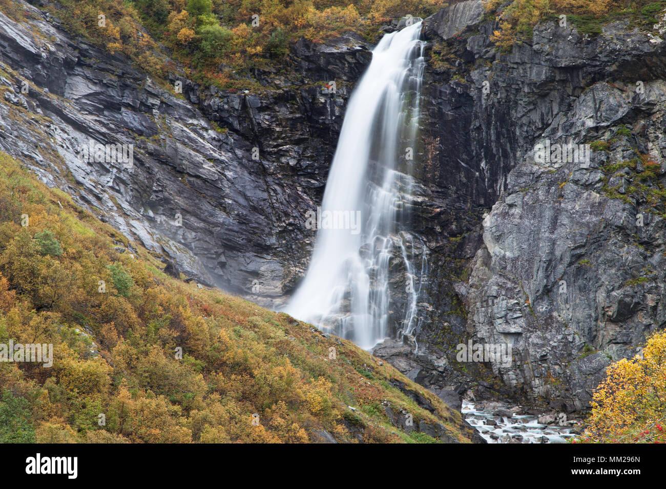 Buldrefossen Waterfall, Gamle Strynefjellsvegen, Norway. Stock Photo
