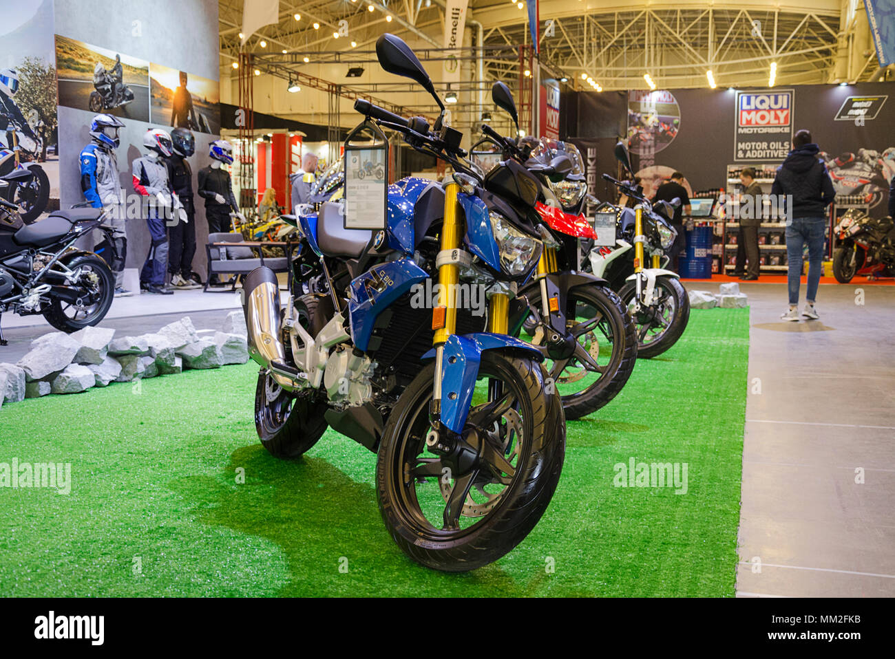Kiev, Ukraine April 20, 2018, motobike is represented at an exhibition held in the International Exhibition Center - Stock Image
