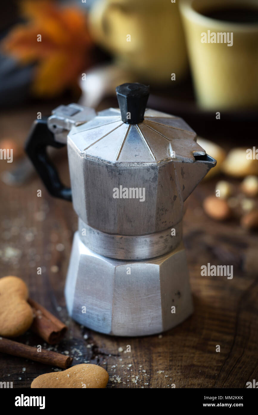 Good Morning Concept Traditional Italian Old Moka Pot On