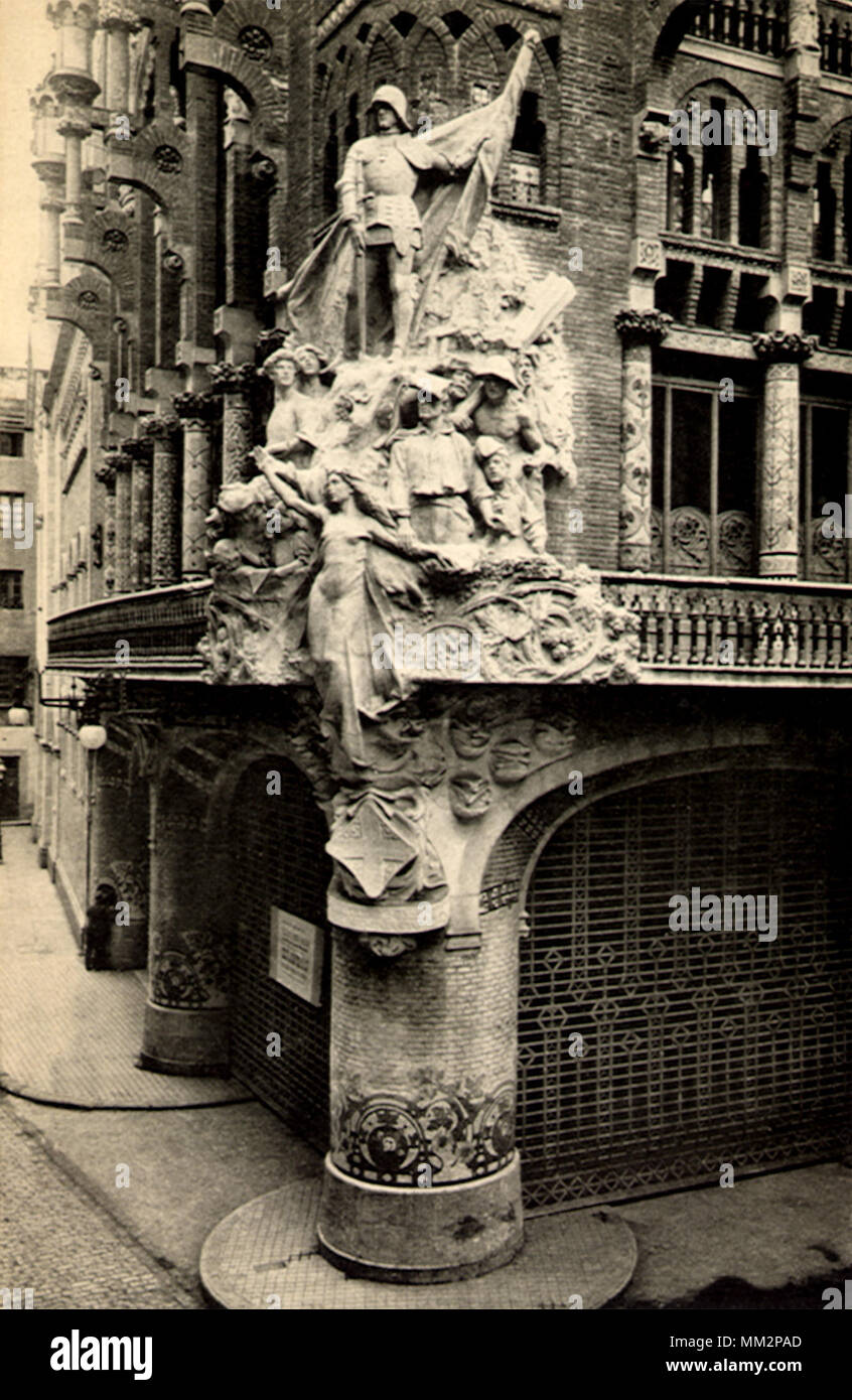 Group of Allegorical Statues. Barcelona. 1930 - Stock Image