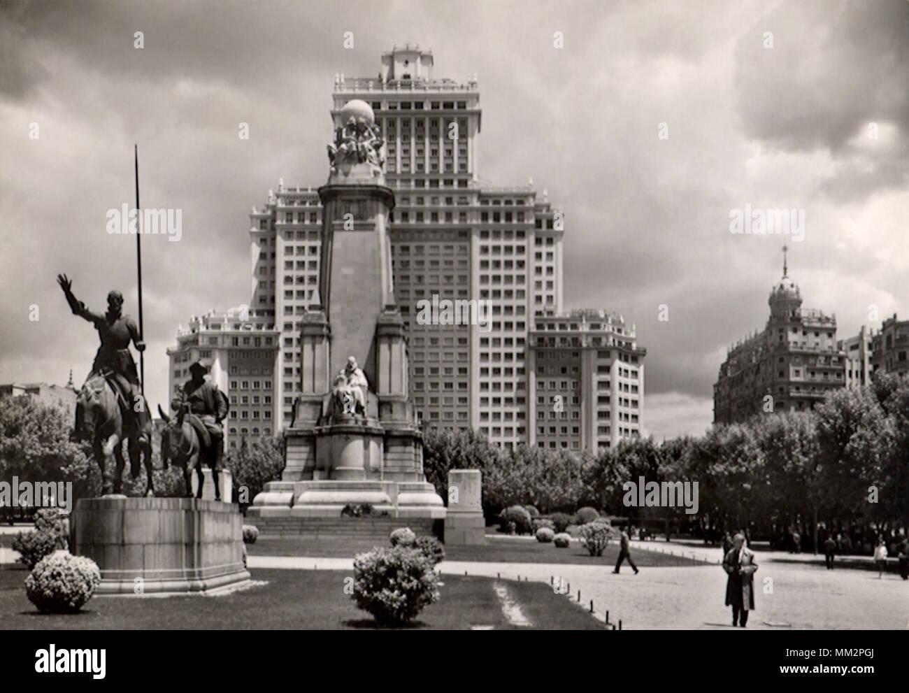 Cervantes Monument & Edifice. Madrid. 1940 - Stock Image