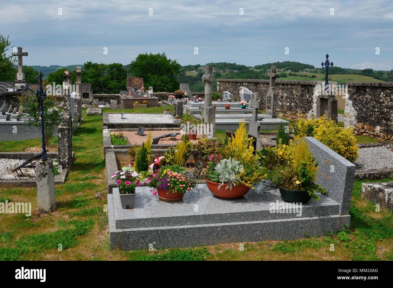 'Organic' cemetery of Saint Bonnet les tours de Merle - France - Stock Image