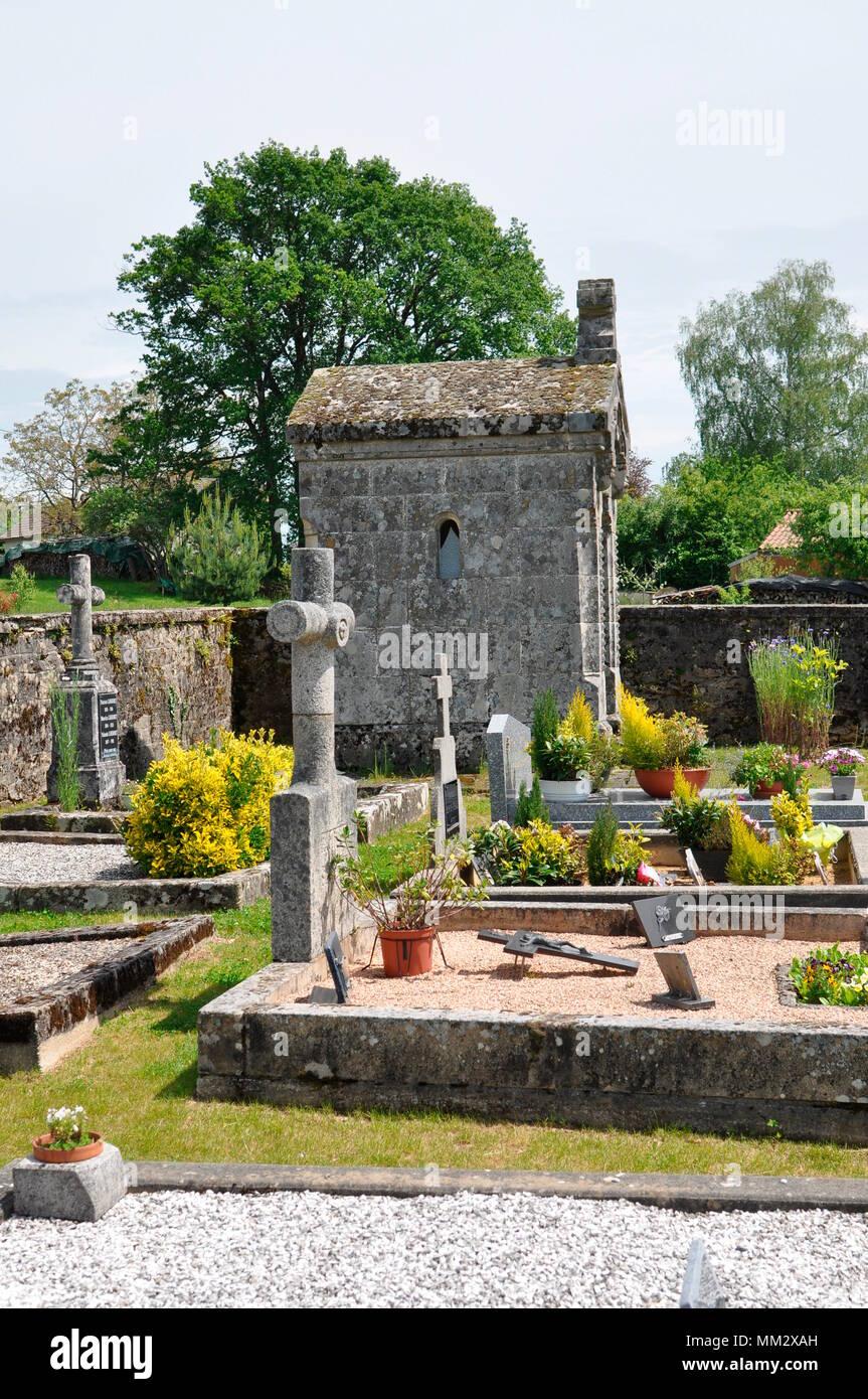 """""""Organic"""" cemetery of Saint Bonnet les tours de Merle - France Stock Photo"""