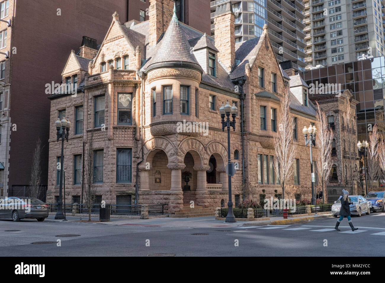 Ransom Cable Mansion built in 1886 on the southwest corner of Erie Street and Wabash Avenue in Chicago, IL Stock Photo