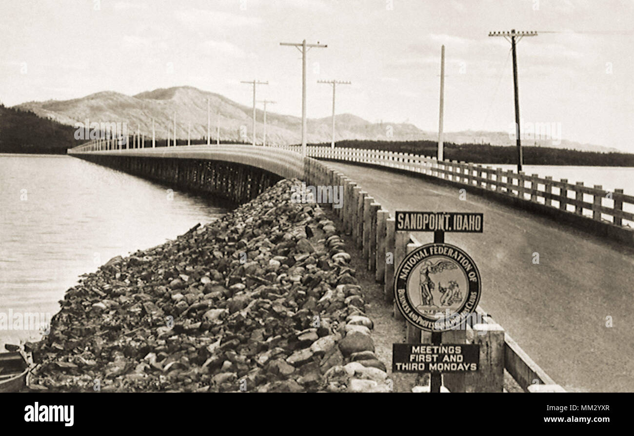 All Wooden Bridge. Sandpoint. 1950 - Stock Image