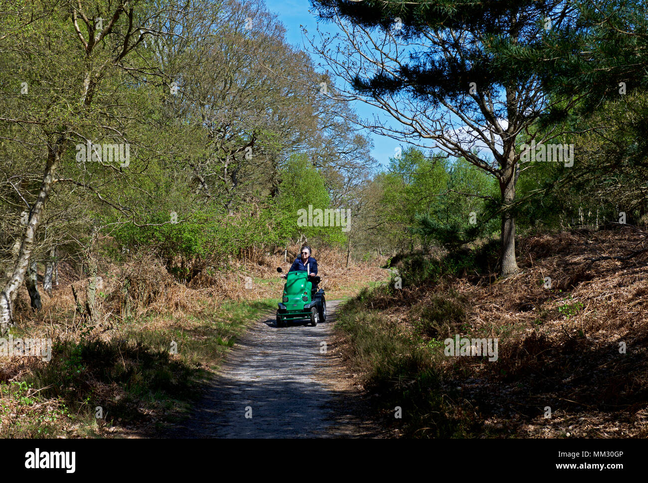 Senior woman on disability scooter, Dunwich Heath, Suffolk, England UK - Stock Image