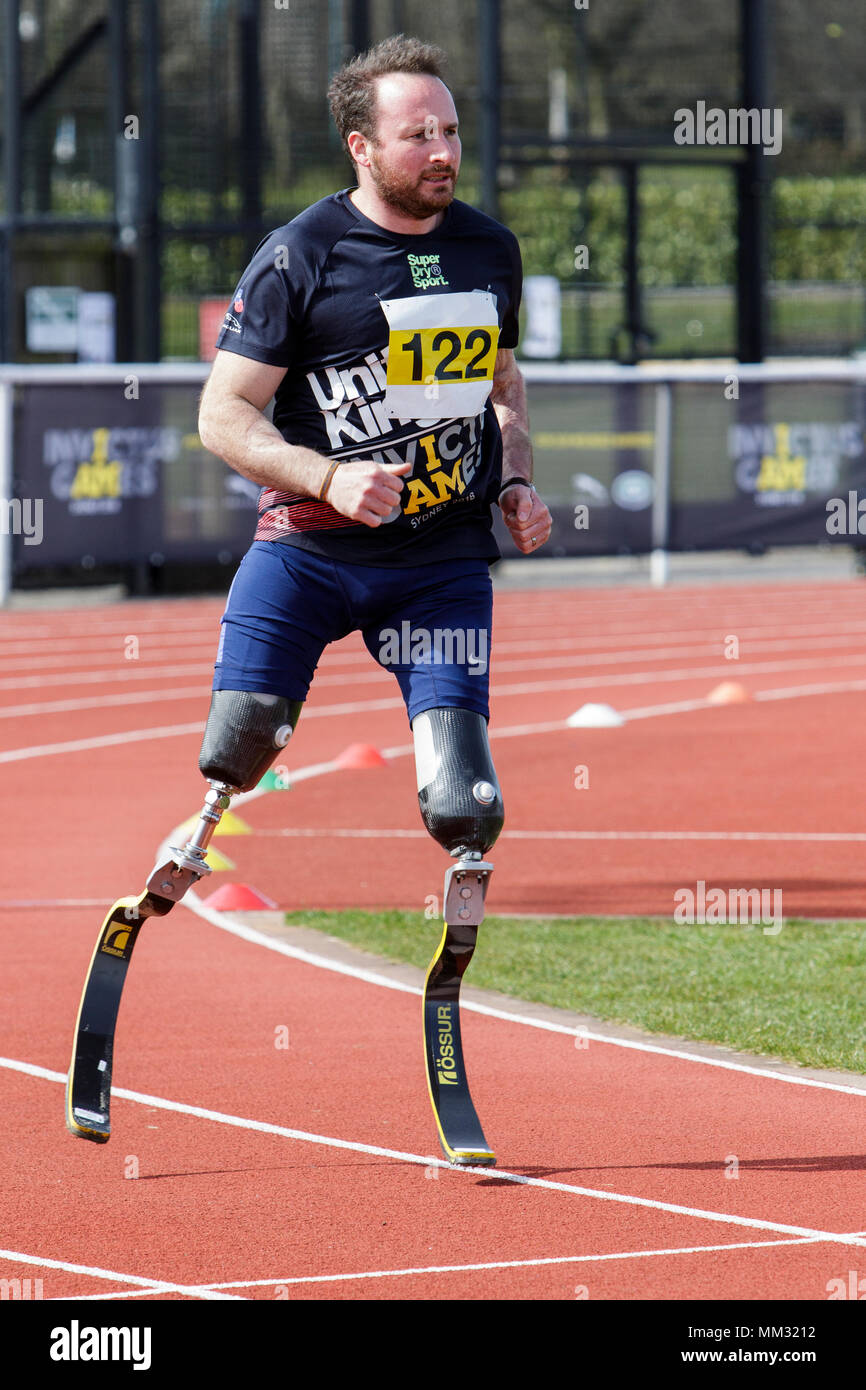 Athletes are pictured at the University of Bath Sports Training Village as they take part in the UK team trials for the 2018 Invictus Games. - Stock Image