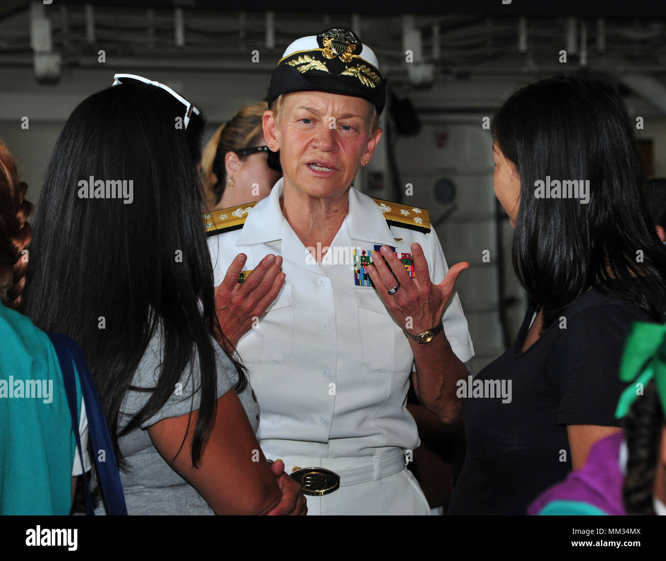 LOS ANGELES (Sep. 2, 2017) Vice Adm. Nora Tyson, commander, U.S. 3rd Fleet, speaks with Girl Scout parents aboard the San Antonio-class amphibious transport dock USS Anchorage (LPD 23) during the second annual Los Angeles Fleet Week, Sep. 2. LA Fleet Week offers the public an opportunity to tour ships, meet Sailors, Marines, and members of the Coast Guard and gain a better understanding of how the sea services support the national defense of the United States and freedom of the seas. (U.S. Navy photo by Mass Communication Specialist Seaman Natalie M.  Byers/Released) - Stock Image
