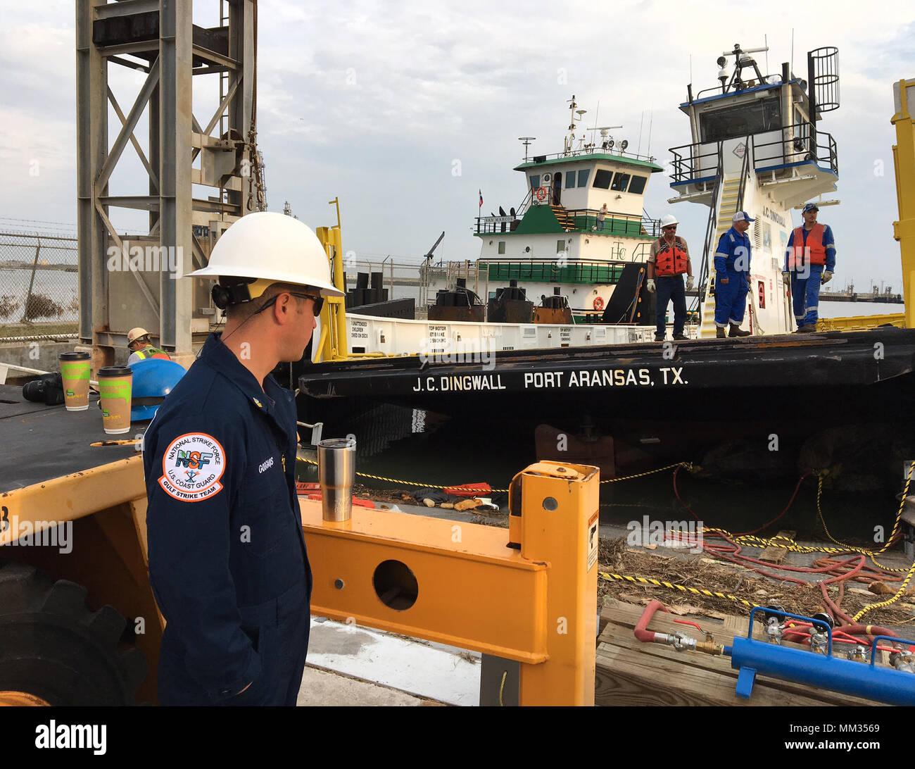 Aransas Pass ferries are recovered, Sept. 3, 2017, near Port Aransas, Texas, following Hurricane Harvey. U.S. Coast Guard photo. - Stock Image