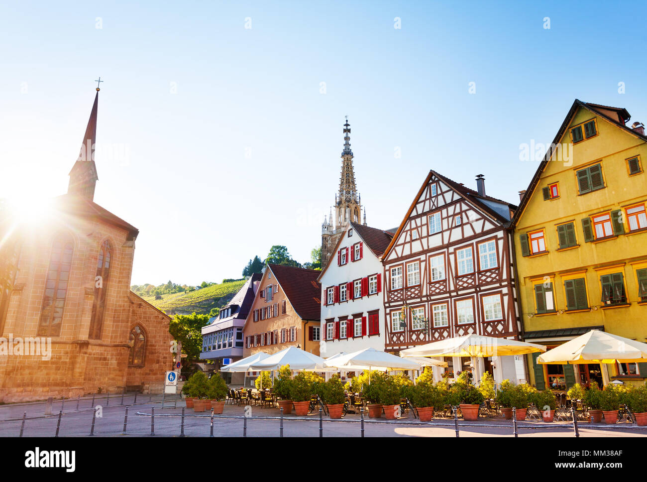 Market Square of Esslingen and spire of Church of Our Lady Frauenkirche in the distance, Germany, Europe - Stock Image