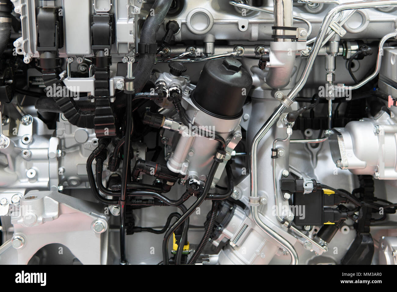 Truck Engine Motor Components In Car Service Inspection Stock Photo ...