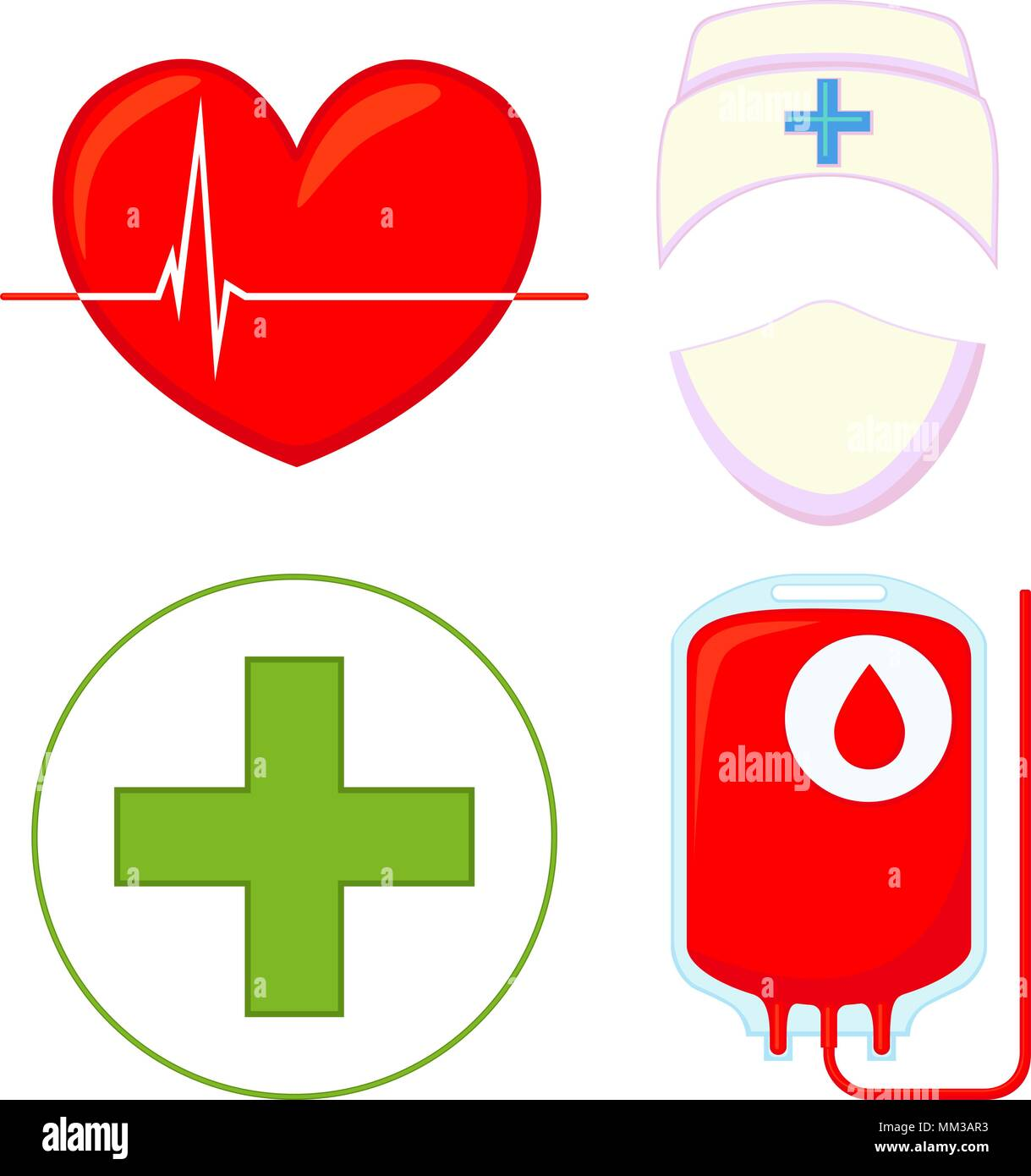 Colorful cartoon blood donation icon set isolated on white background. Heart cardiogram, IV bag, medical avatar and first aid kit. Healthcare vector i - Stock Vector
