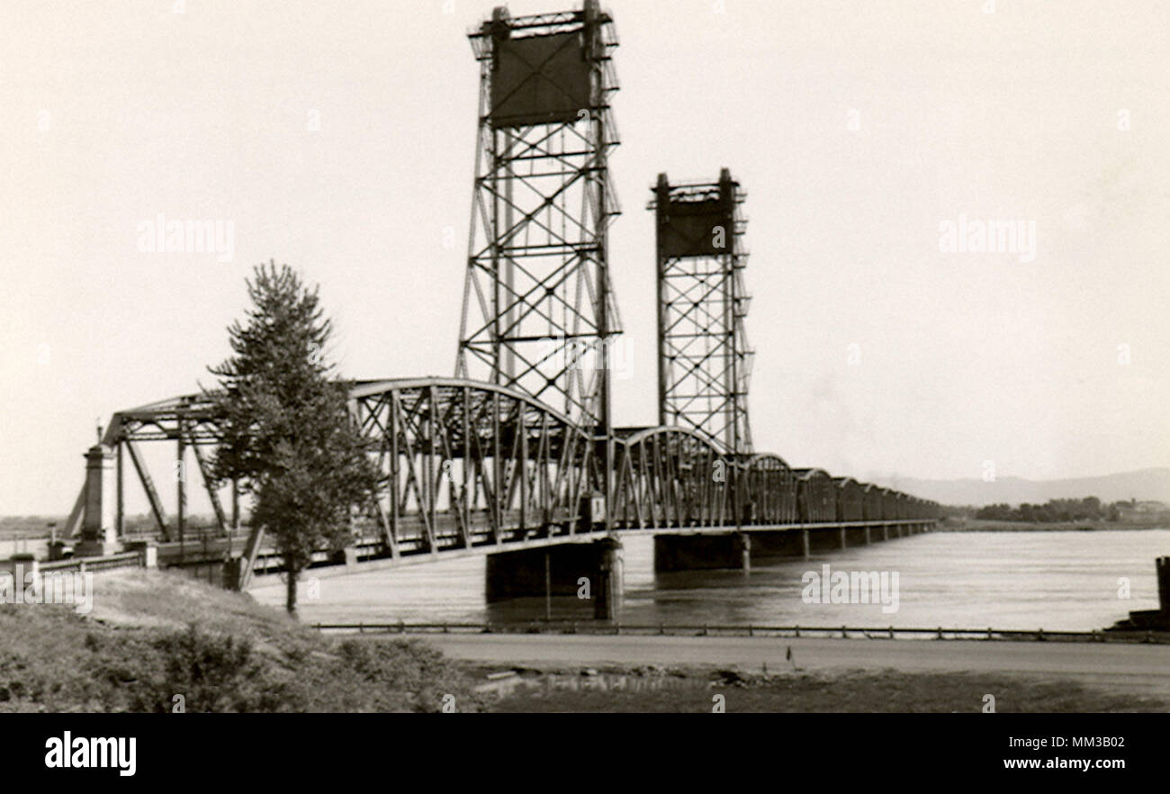 Interstate Bridge  Vancouver to Portland  1935 Stock Photo