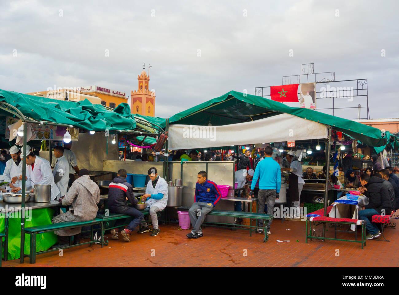 Food stall, Jamaa el Fna, Marrakesh, Morocco, northern Africa - Stock Photo