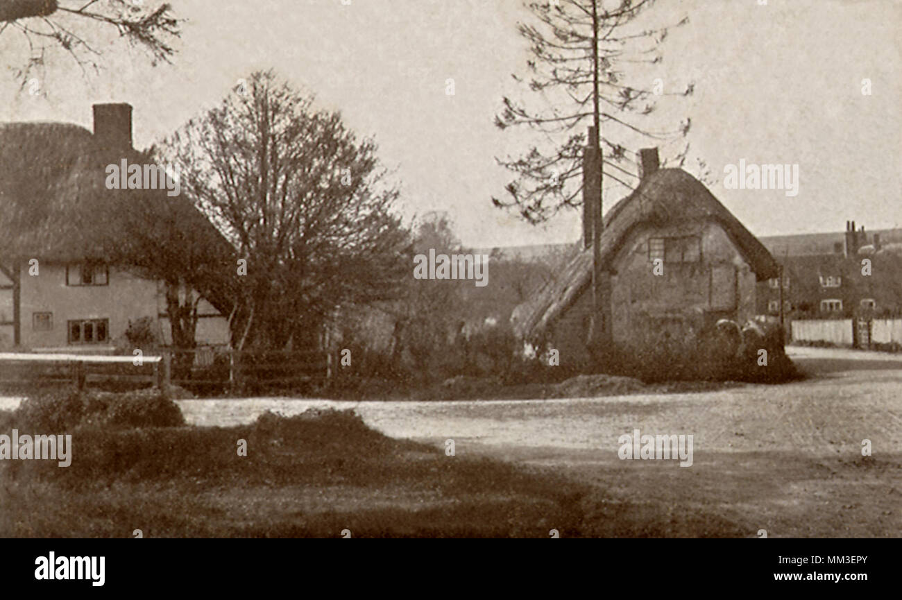 Homes and Street. East Garston.1905 - Stock Image
