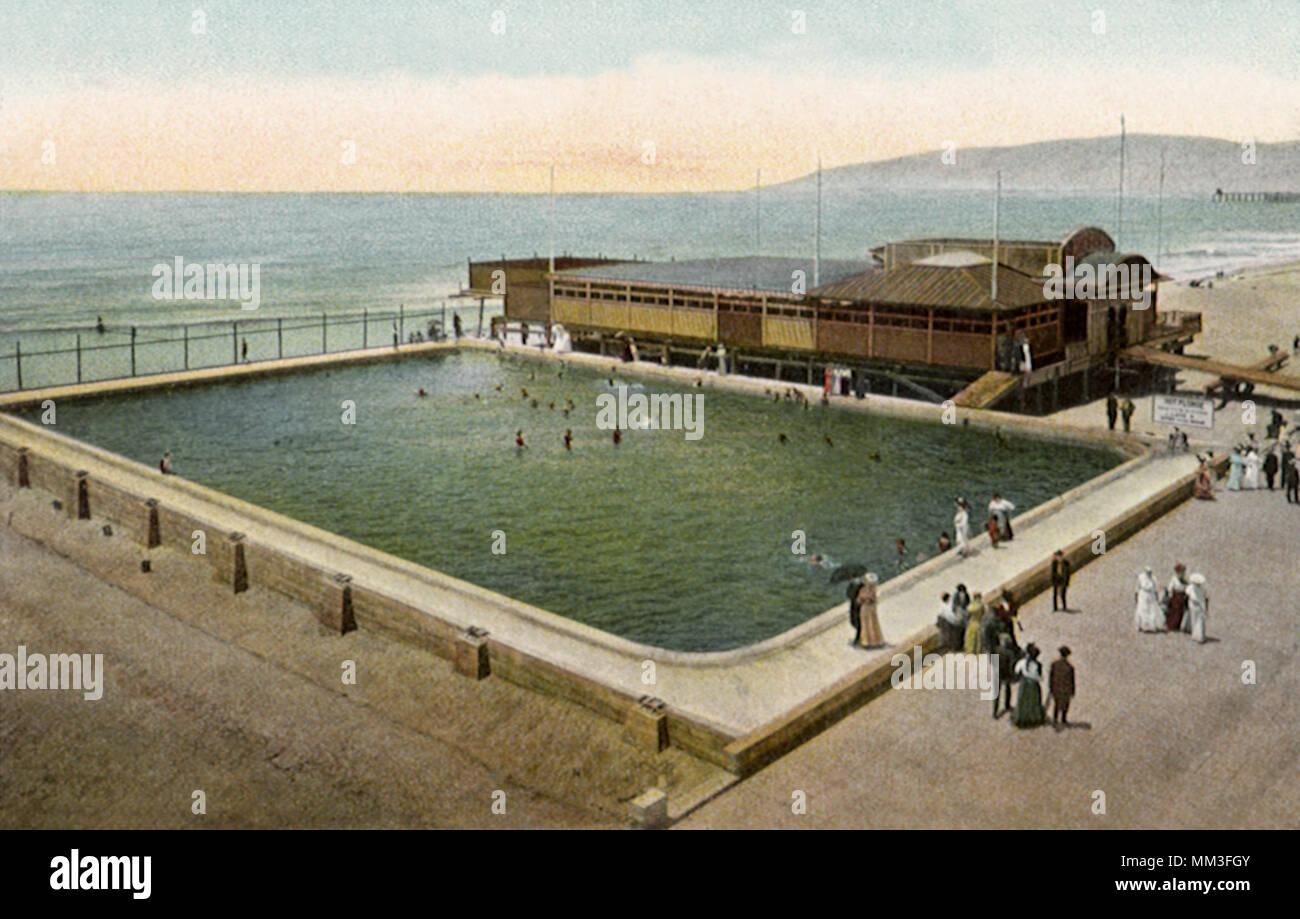 Swimming Pool & Cement Walk. Venice. 1910 Stock Photo ...