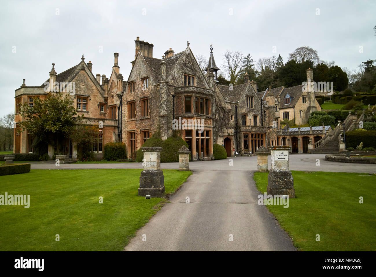 The Manor House Hotel 14th century country house hotel Castle Combe village wiltshire england uk - Stock Image